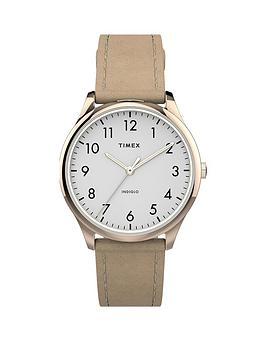 Timex Timex Timex White And Gold Detail 32Mm Dial Cream Leather Strap Watch Picture