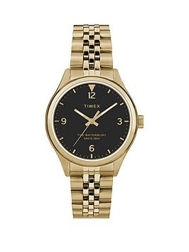 Timex Timex Timex Waterbury Black 34Mm Dial Gold Stainless Steel Bracelet  ... Picture