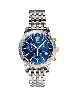 Versace Versace Blue Chronograpgh Dial Stainless Steel Bracelet Mens Watch