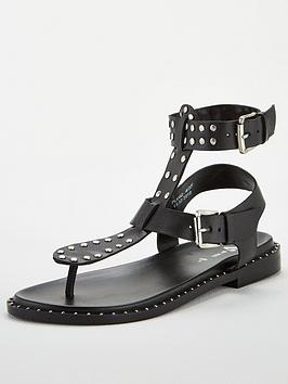 V by Very V By Very Hina Leather Studded Toe Post Gladiator Sandals - Black Picture