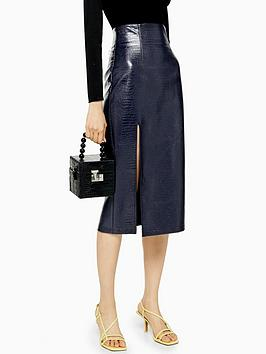 topshop-croc-pu-pencil-midi-skirt-navy