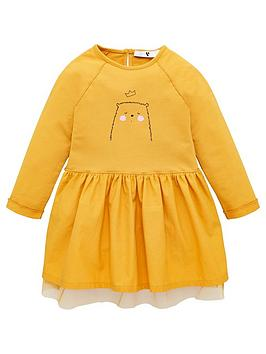 V by Very V By Very Girls Bear Print Mesh Detail Jersey Dress - Mustard Picture
