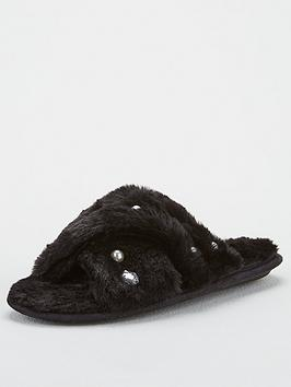 V by Very V By Very Briana Cross Strap Embellished Slider Slippers - Black Picture