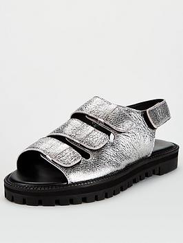 V by Very V By Very Harrison Leather Chunky Sandals - Pewter Picture