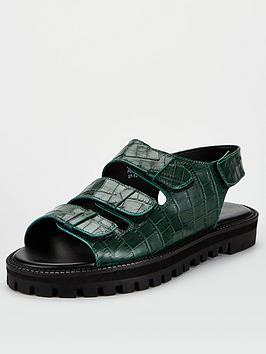 V by Very V By Very Harrison Leather Chunky Sandals - Dark Green Picture
