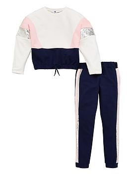 V by Very V By Very Girls Colour Block Sequin Tracksuit - Multi Picture