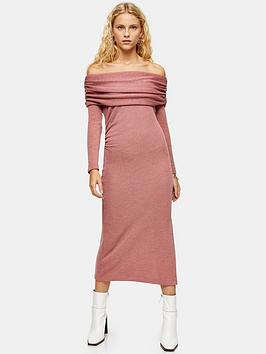 topshop-jerseynbspcut-and-sewnbspmidi-dress-pink