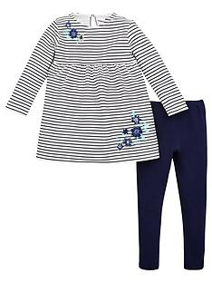 v-by-very-girls-2-piece-striped-embroidered-dress-and-leggings-set-navy
