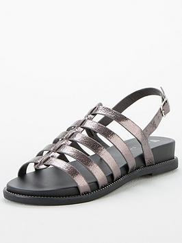 V by Very V By Very Hennie Wide Fit Gladiator Sandals - Pewter Picture