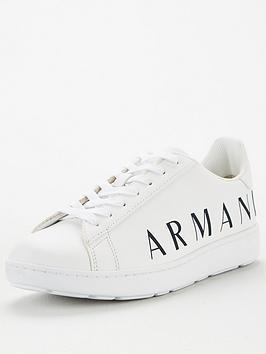 Armani Exchange Armani Exchange Logo Addiction Leathers Trainers - White Picture