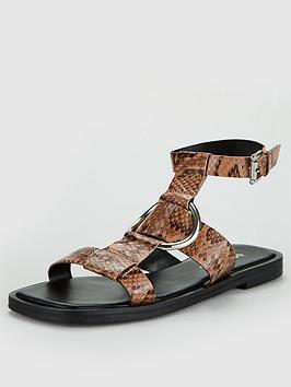 V by Very V By Very Hippo Leather Square Toe Metal Ring Sandal - Snake Picture