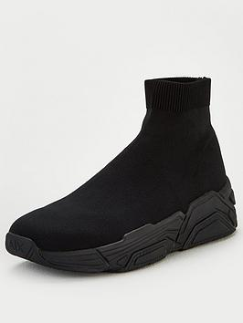 Armani Exchange Armani Exchange Knitted Sock Trainers - Black Picture