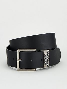 Armani Exchange   Classic Leather Jeans Belt - Black