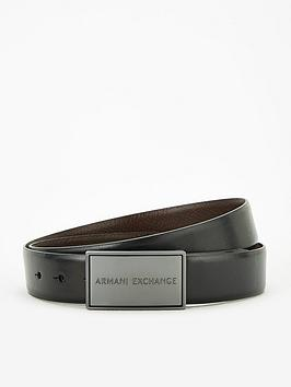 Armani Exchange   Plaque Leather Belt