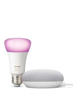 google-nest-chalk-mini-with-philips-colour-bulb-e27