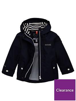 regatta-girls-bibiana-striped-lined-hooded-jacket-navy