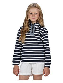 Regatta Regatta Girls Benji Stripe 1/4 Zip Sweat - Navy/White Picture