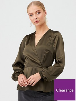 v-by-very-satin-wrap-top-green