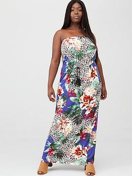 V by Very Curve V By Very Curve Bandeau Jersey Maxi Dress - Blue Floral  ... Picture