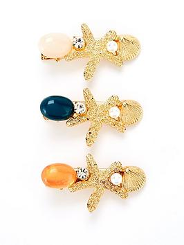 V by Very V By Very Three Pack Shell And Bead Hair Clips - Gold Picture