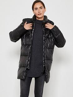 mint-velvet-wet-look-double-breasted-padded-coat-black