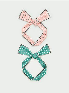 V by Very V By Very Two Pack Polka Dot Hair Scarfs - Pink/Green Picture