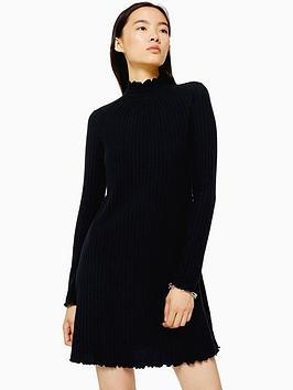 topshop-cut-and-sew-shirred-mini-dress--black