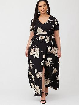 v-by-very-curve-v-front-belted-maxi-dress-mono-print