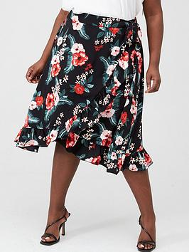 V by Very Curve V By Very Curve Ruffle Front Print Skirt - Floral Picture