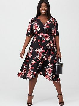 V by Very Curve V By Very Curve Ruffle Front Wrap Tea Dress - Black Floral Picture