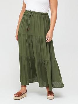 V by Very Curve V By Very Curve Crinkle Tiered Maxi Skirt - Khaki Picture
