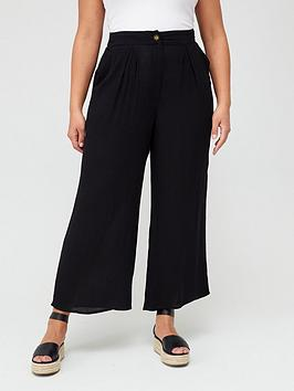 V by Very Curve V By Very Curve Crinkle Wide Leg Trousers - Black Picture