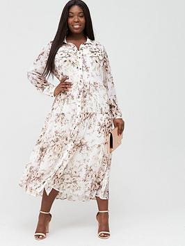 V by Very Curve V By Very Curve Tiered Midi Shirt Dress - Cream/Floral Picture