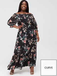 v-by-very-curve-bardotnbspmaxi-dress-multi-print