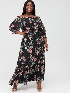 V by Very Curve V By Very Curve Bardot Maxi Dress - Multi Print Picture