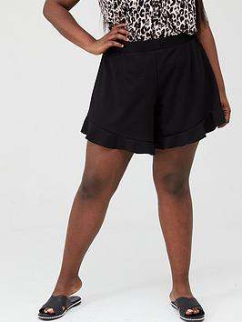 V by Very Curve V By Very Curve Crepe Flippy Shorts - Black Picture