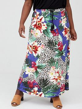 V by Very Curve V By Very Curve Jersey Maxi Skirt - Blue Floral Animal Picture