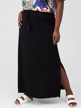 V by Very Curve V By Very Curve Jersey Maxi Skirt - Black Picture