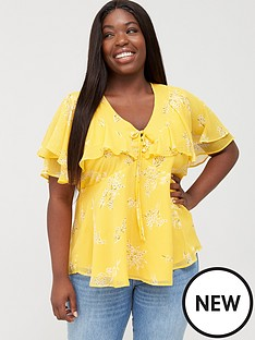 v-by-very-curve-double-shoulder-frill-blouse-yellow