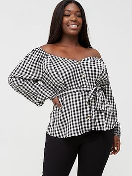 V by Very Curve V By Very Curve Gingham Blouse - Black/White Picture