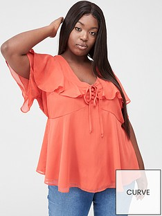 v-by-very-curve-double-shoulder-frill-blouse-red