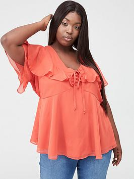 V by Very Curve V By Very Curve Cape Sleeve Blouse - Red Picture