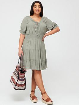 V by Very Curve V By Very Curve Tiered Crinkle Dress - Khaki Picture