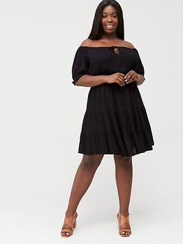 V by Very Curve V By Very Curve Tiered Crinkle Dress - Black Picture