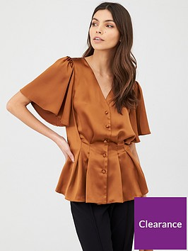 v-by-very-pintuck-satin-blouse-rust