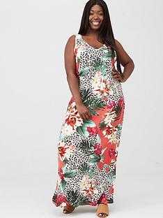 v-by-very-curve-side-split-jersey-maxi-dress-coral-floral-animal
