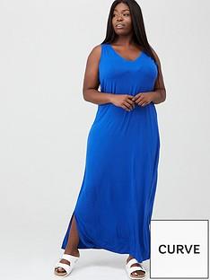 v-by-very-curve-side-split-jersey-maxi-dress-electric-blue
