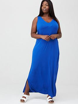 V by Very Curve V By Very Curve Side Split Jersey Maxi Dress - Electric  ... Picture