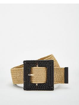 V by Very V By Very Raffia Buckle Belt - Natural Picture