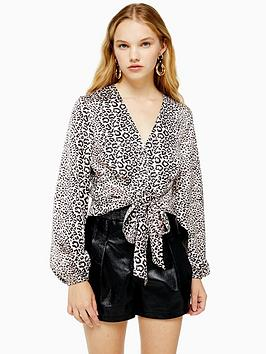 topshop-animal-tie-front-blouse-nude